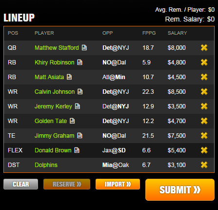 draftkings week 4 example lineup