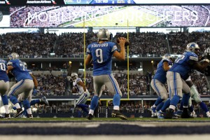 04 January 2015: Detroit Lions quarterback Matthew Stafford (9) during the first half of a NFC Wild-Card game between the Dallas Cowboys and Detroit Lions  at AT&T Stadium in Arlington, TX.